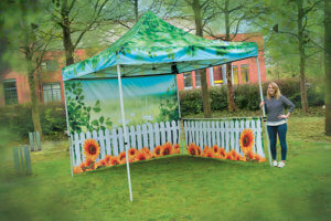 Printed gazebo for outdoor display