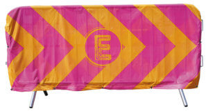 Printed fabric crowd barrier cover for outdoor display