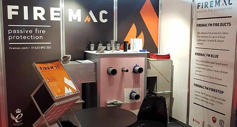 Photo of new Firemac brand identity on their exhibition stand